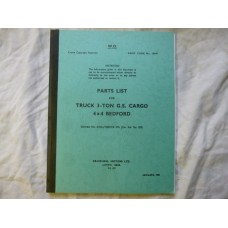 Bedford G.S 3TON Cargo 4x4 Parts List Code 19049